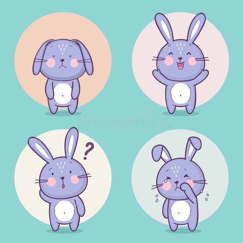Set of cute bunny rabbit character royalty free illustration