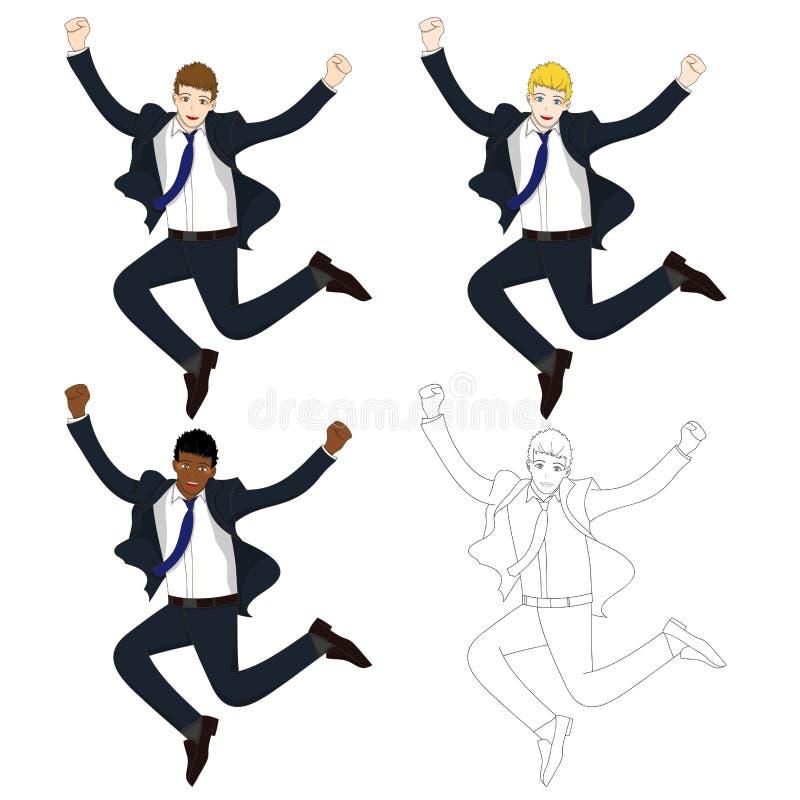 Set Cute Business Woman Jumping Celebration. Full Body Vector Illustration. vector illustration