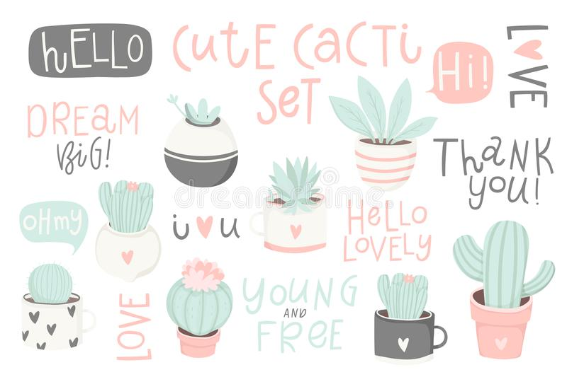 Set with cute cacti and lettering. Cute summer theme cactus. stock illustration