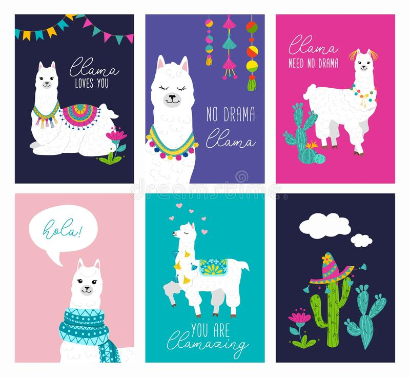 Set of cute card with alpacas. Inspirational llamas posters with colorful design and inspirational quotes. Llama loves you. No stock illustration
