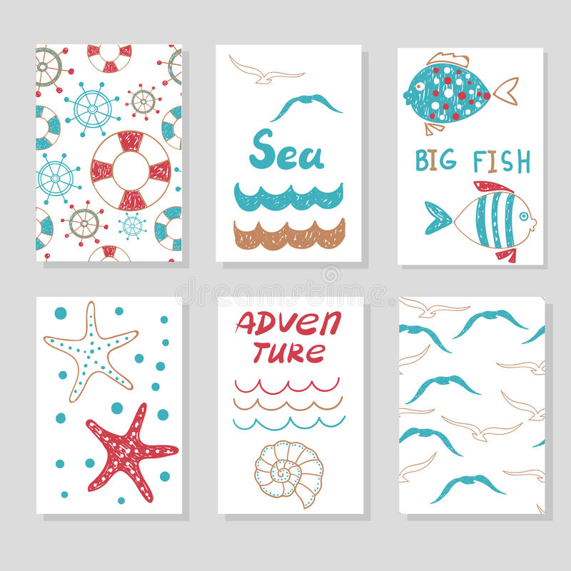Set of cute cards templates for your design . Doodle sea vector illustrations vector illustration