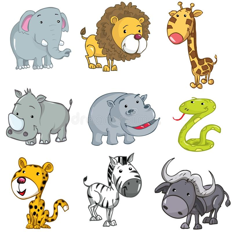 Set of cute cartoon animals royalty free stock photos