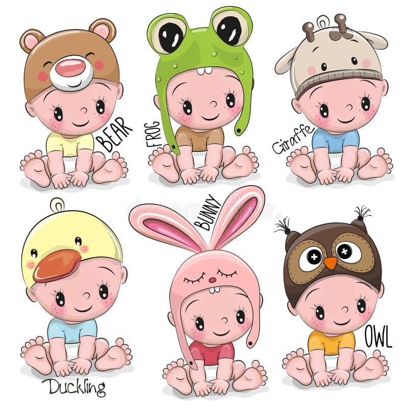 Set of Cute Cartoon Babies vector illustration