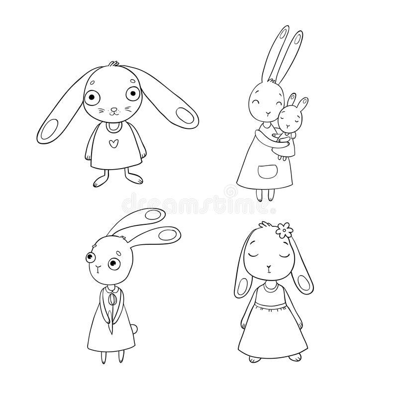 A set of cute cartoon bunny girls. Beautiful rabbits in dresses. Little hares. isolated objects on white background. royalty free illustration