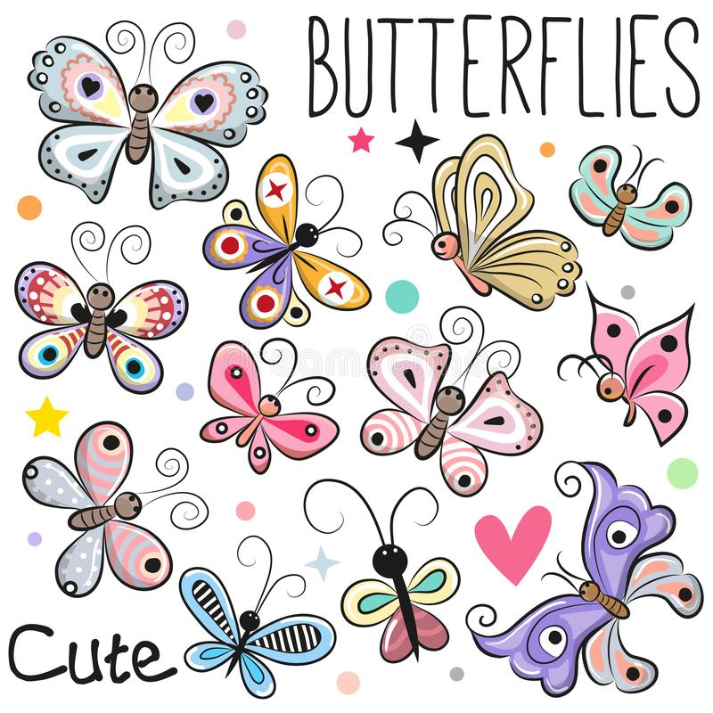 Set of Cute cartoon Butterflies stock illustration