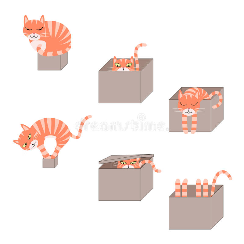 Set of cute cartoon cats in boxes stock illustration