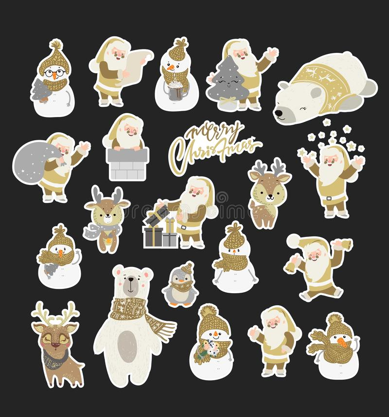 Set of cute cartoon character illustration for christmas and new year celebration. Winter woodland animals in a scarf and hat. Sno stock illustration