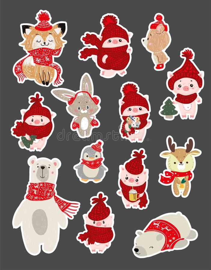 Set of cute cartoon character illustration for christmas and new year celebration. Winter woodland animals in a scarf snd hat. Set of cute cartoon character stock illustration