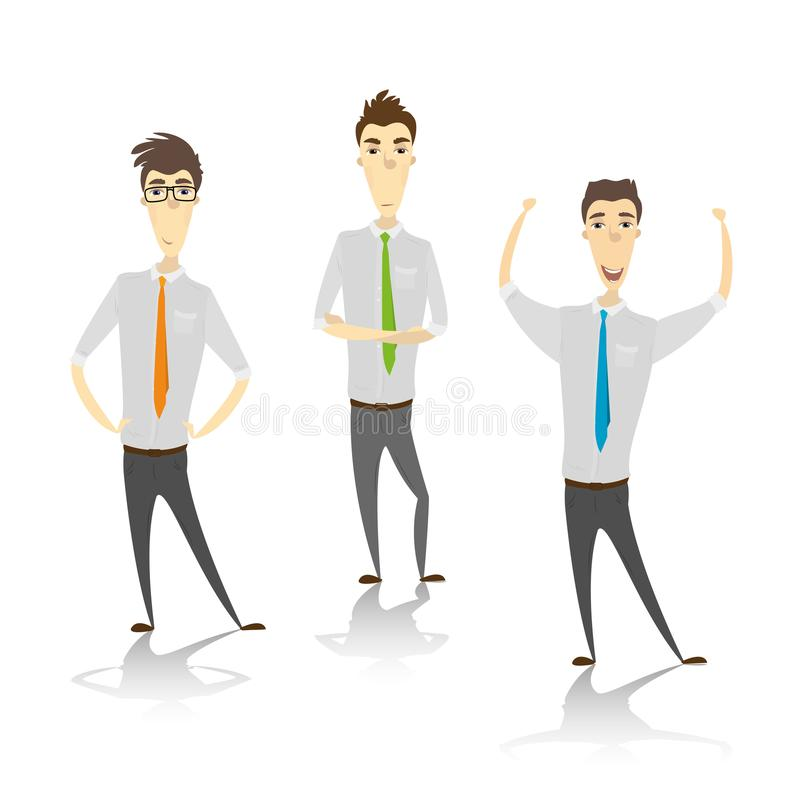 Set of cute cartoon characters businessman or office worker pose royalty free illustration