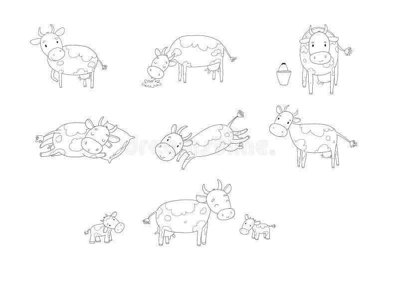 Set with cute cartoon cow. Farm animals royalty free illustration
