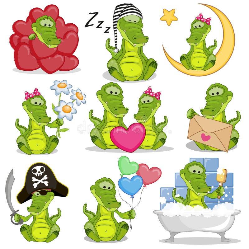 Set of Cute Cartoon Crocodile vector illustration