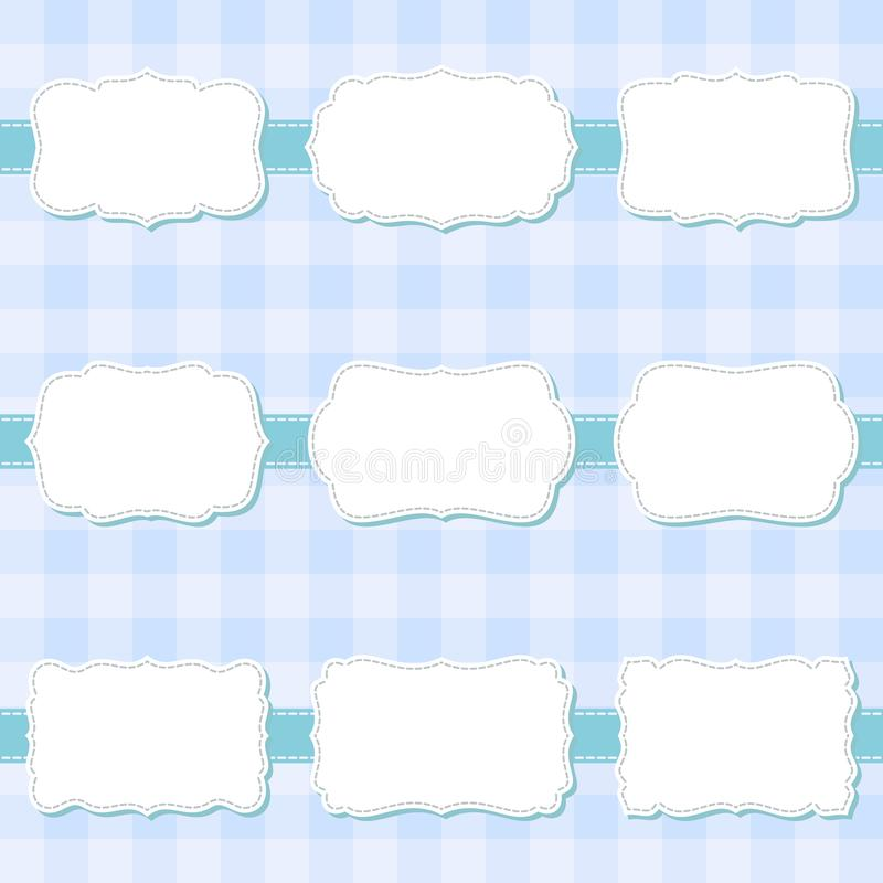Set of cute cartoon decorative sewing blank frames. Shape labels for baby shower, banner, sticker, scrapbook template. royalty free illustration