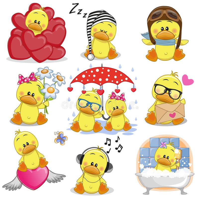 Set of Cute Cartoon ducks. On a white background stock illustration