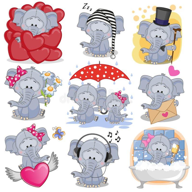 Set of Cute Cartoon elephants. On a white background stock illustration