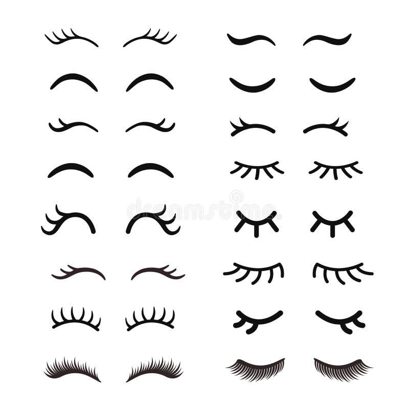 Set Of Cute Cartoon Eyelashes Open And Closed Hand Drawing Eyes