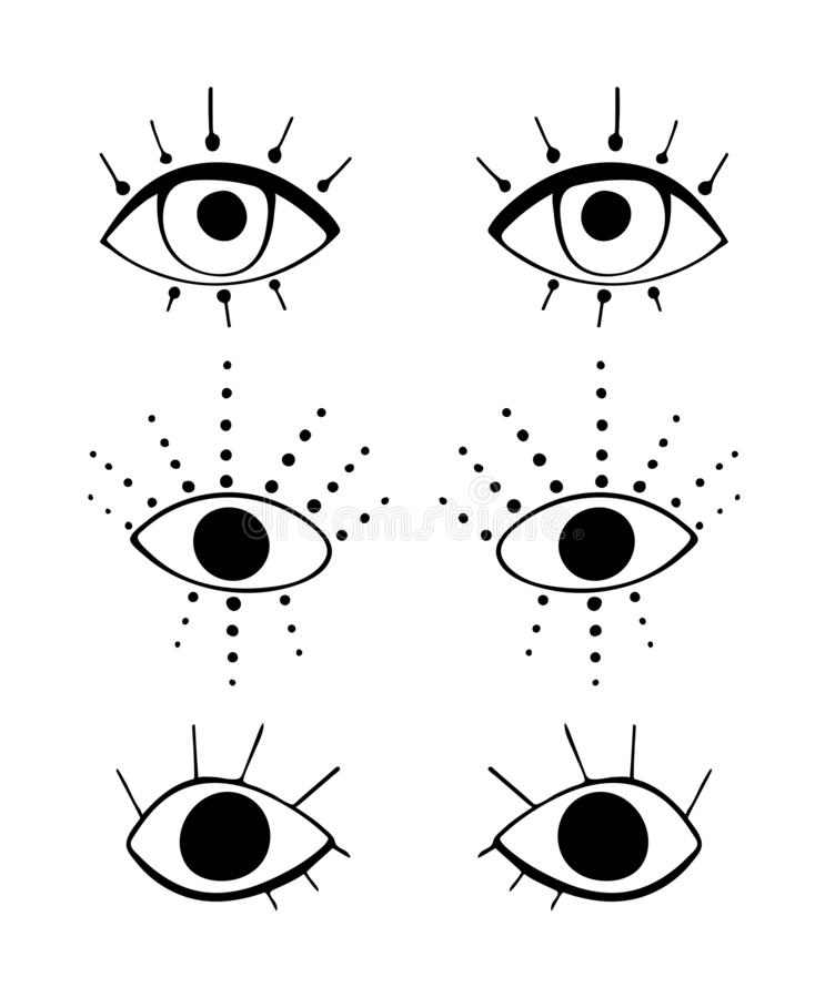 Set of cute cartoon eyes in abstract style. Black graphic drawnig of eyeballs with eyelashes on white background. stock illustration