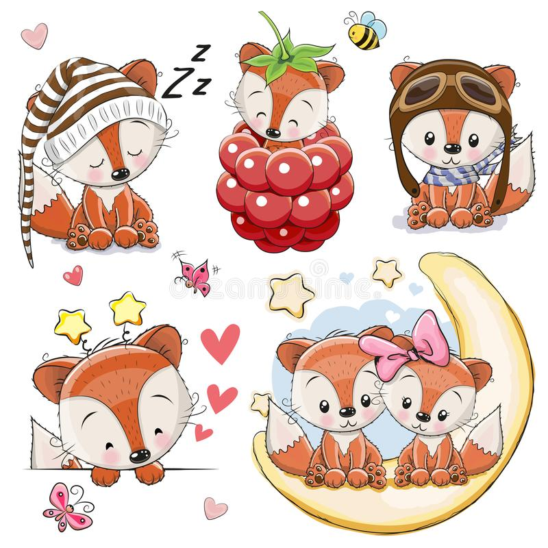 Set of Cartoon Foxes on a white background royalty free illustration