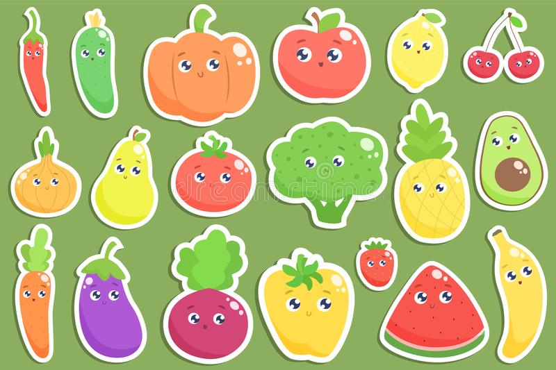 Set of cute cartoon fruits and vegetables stickers. Vector flat royalty free illustration