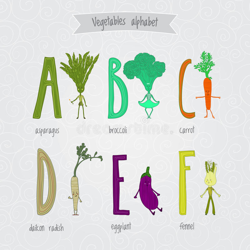 Set with cute cartoon funny vegetables alphabet stock illustration