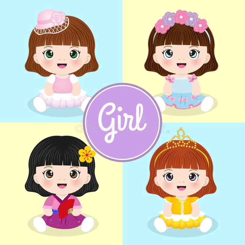 Set of cute cartoon girls with various costumes stock images