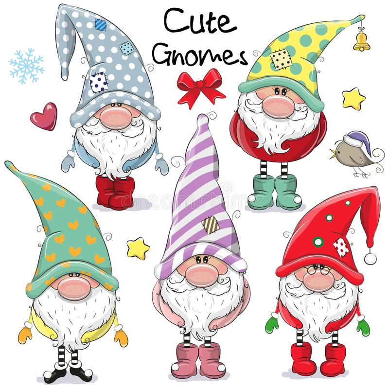 Set of Cute Cartoon Gnomes vector illustration