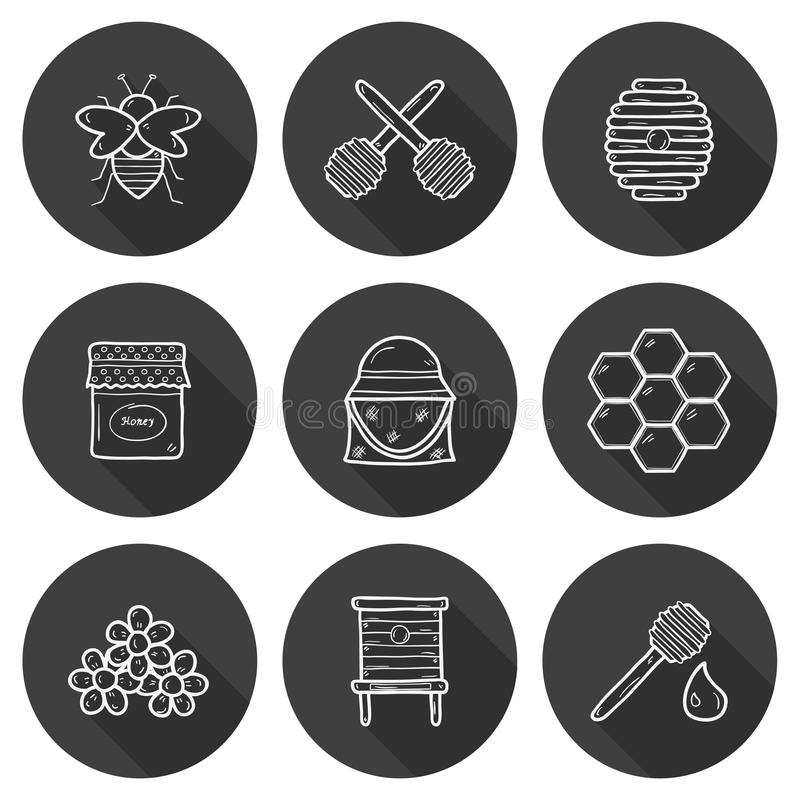 Set of cute cartoon hand drawn icons on beekeeping. Theme: bee, honey, flowers, bee hat, bee spoon, beehive. Farm or eco concept. You can use it for farm vector illustration