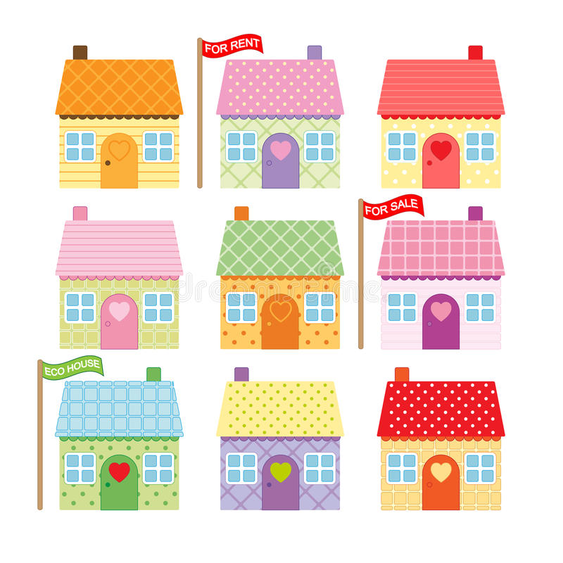 Set of cute cartoon houses for sale royalty free illustration