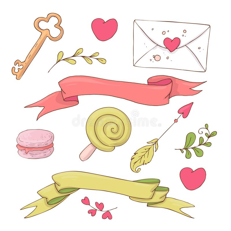 Set of cute cartoon items for Valentine s Day with accessories. royalty free illustration
