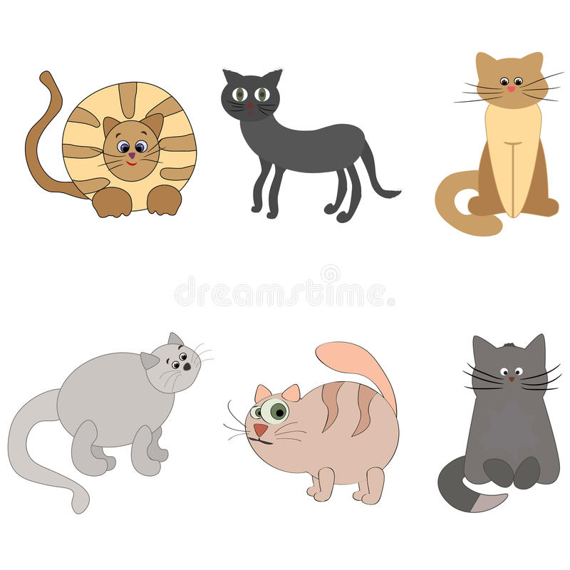 Set of cute cartoon kitties or cats with different colored fur. royalty free stock image
