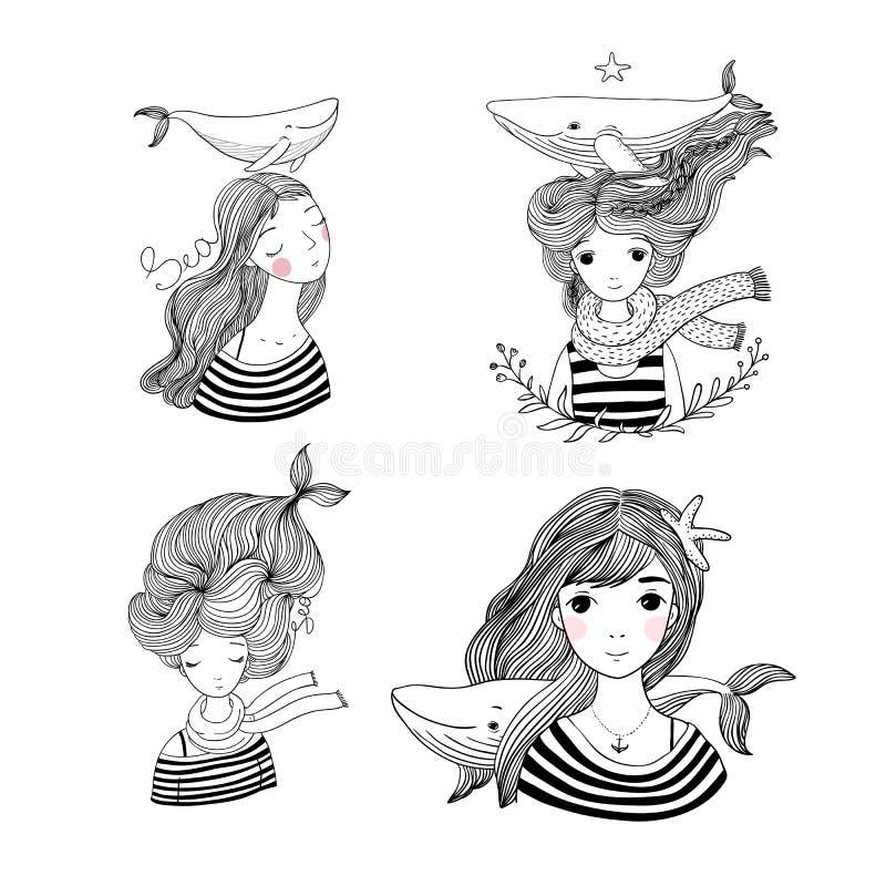 Set of Cute cartoon little mermaid. Siren. Sea theme. stock illustration
