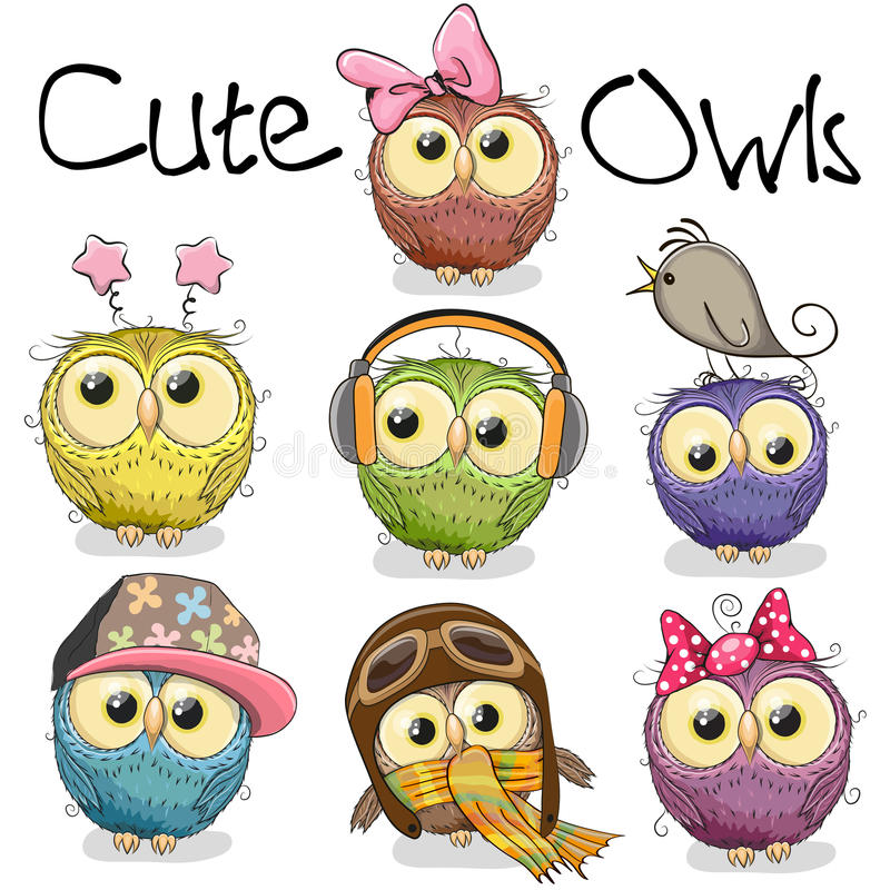 Set of cute cartoon owls stock illustration