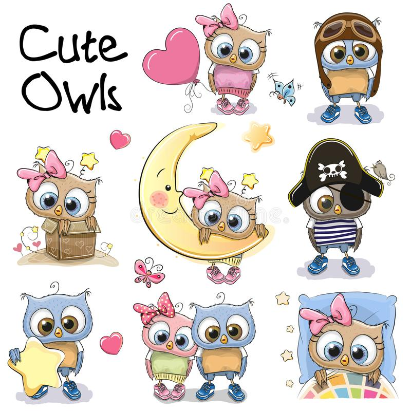 Set of Cute Cartoon Owls royalty free illustration