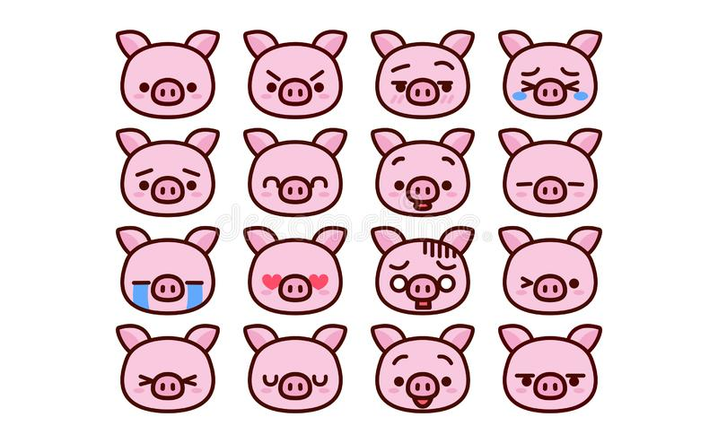 Set Of Cute Cartoon Pig Icons Isolated stock illustration