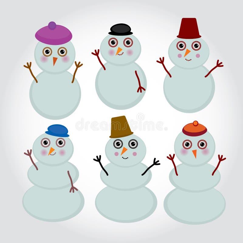 Set of cute cartoon snowmen for winter design. vector illustration