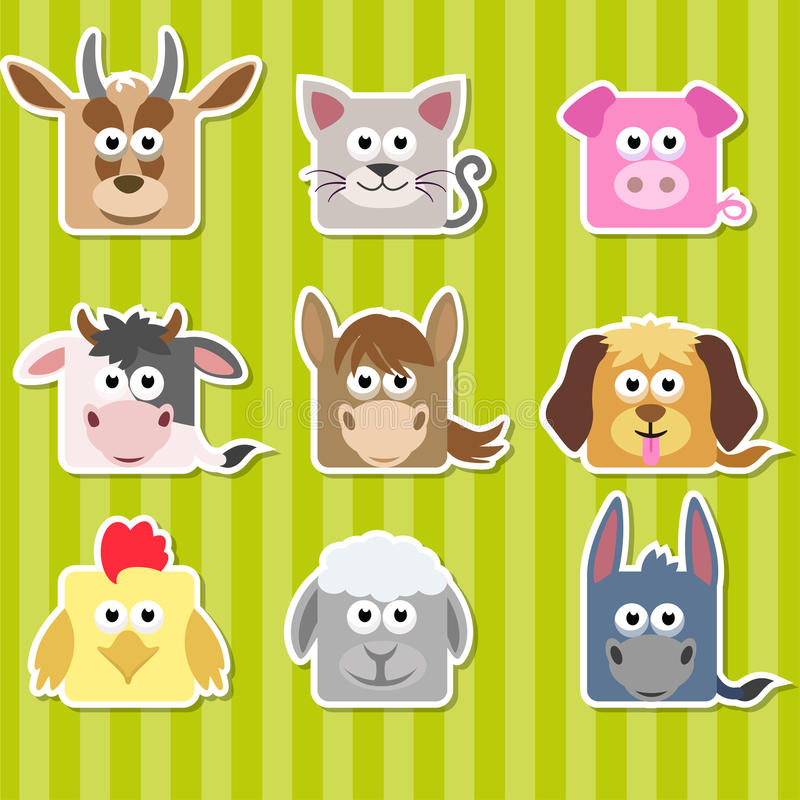 Set of cute cartoon square home animals stickers stock illustration