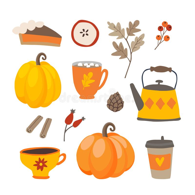 Set of cute cartoon Thanksgiving day icons with pumpkins, pie, coffee, cinnamon spice and oak leaves. Fall season royalty free illustration