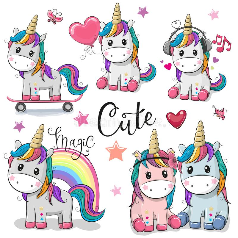 Set of Cute Cartoon Unicorns. Isolated on a white background