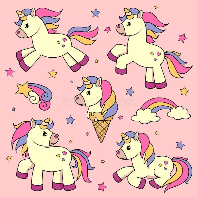 Set of cute cartoon unicorns stock illustration