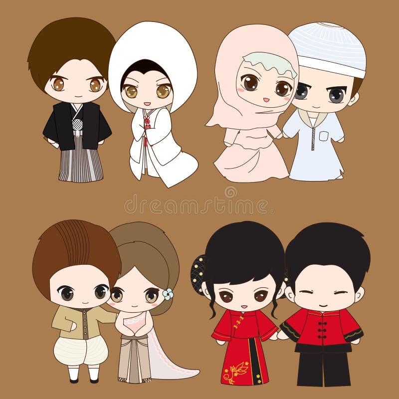 Set of cute cartoon wedding dress vector illustration