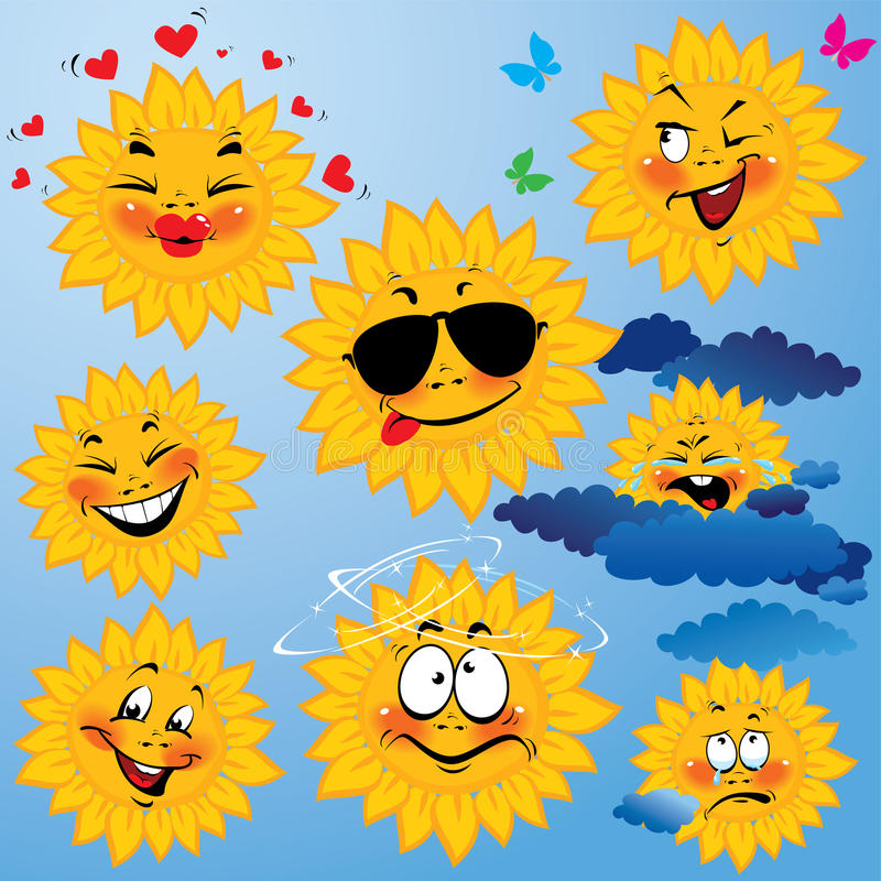 Set Of Cute Cartoons Of Sun With Different Express Stock Photography