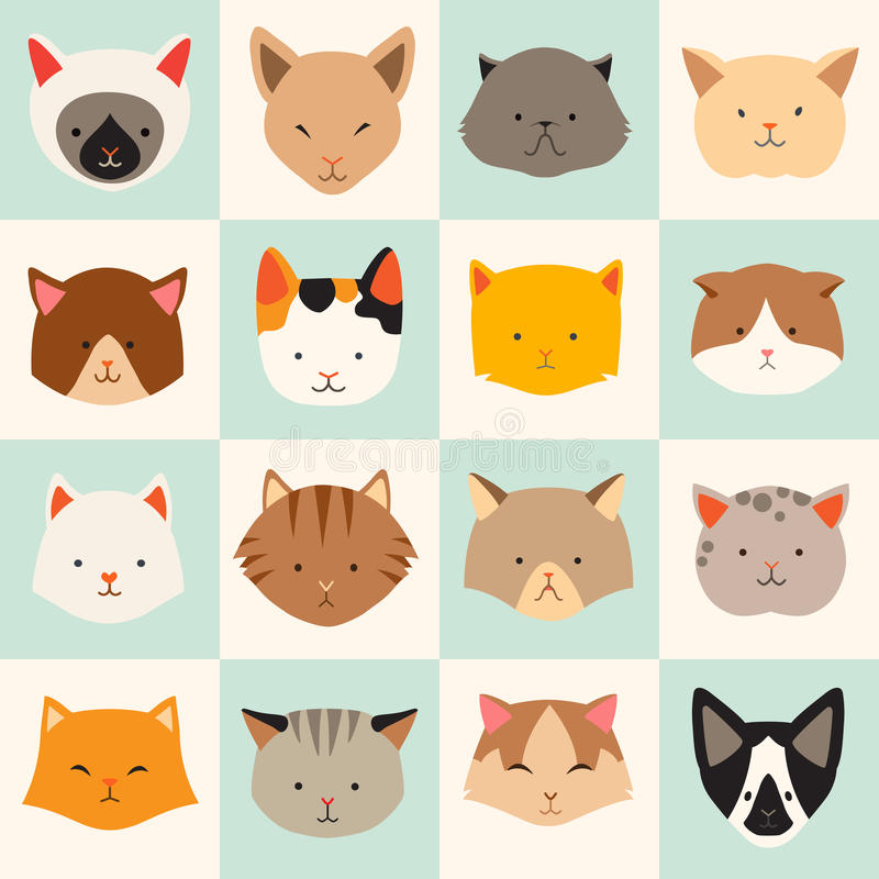Set of cute cats icons, vector flat illustrations. Cat breeds, pattern, card, game graphics stock illustration