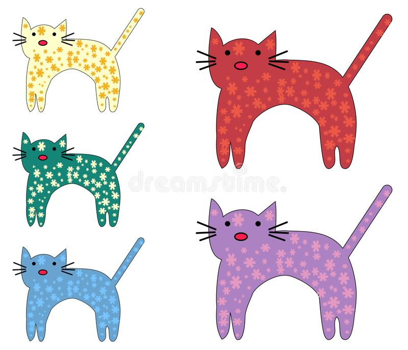 Set of cute cats in simple design for kid`s greeting card design, t-shirt print, inspiration poster. stock illustration