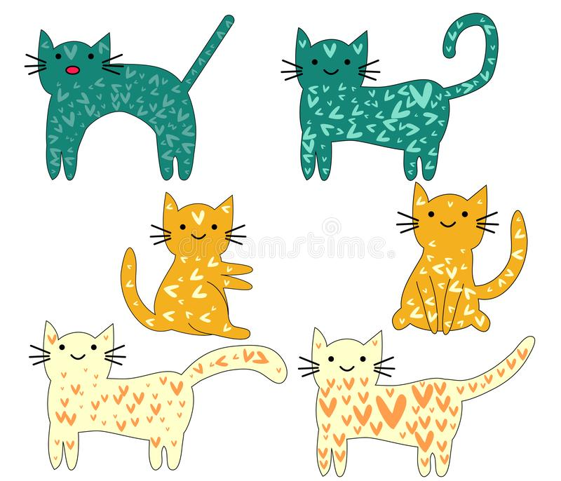 Set of cute cats in simple design for kids greeting card design, t-shirt print, inspiration poster stock illustration