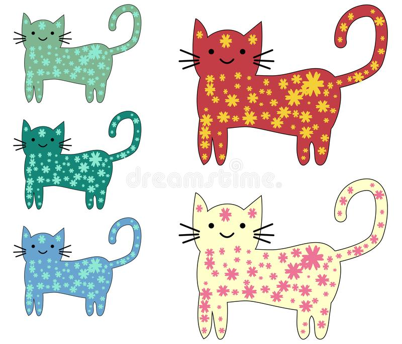 Set of cute cats in simple design for kid`s greeting card design, t-shirt print, inspiration poster vector illustration