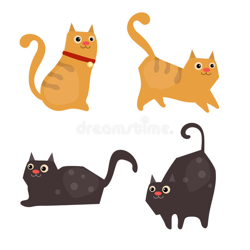 Set of cute cats stock illustration