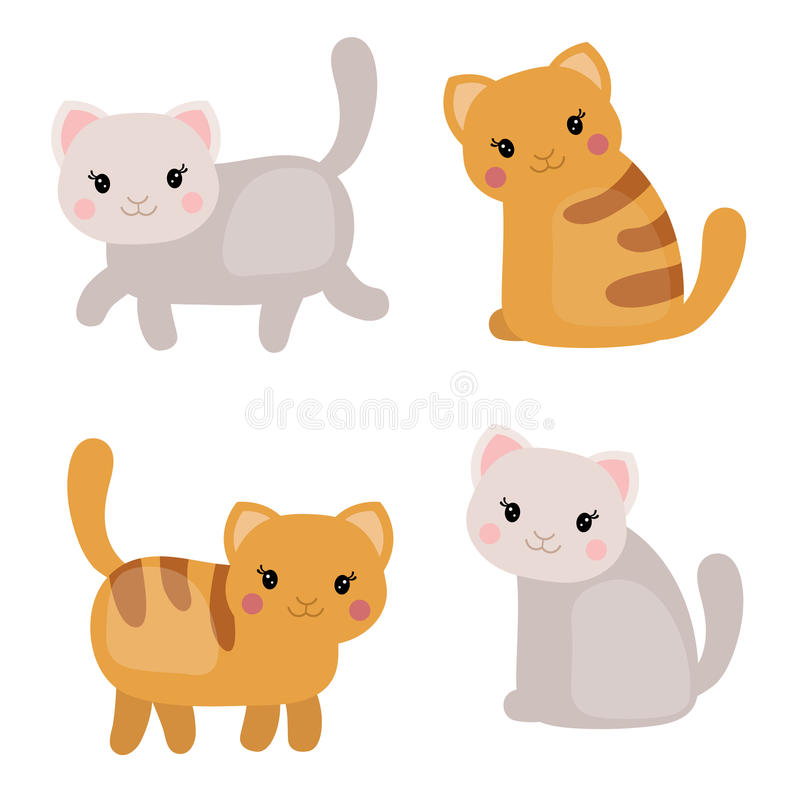 Set of cute cats. Vector set of cute cats on white background. Cats made in cartoon style royalty free illustration