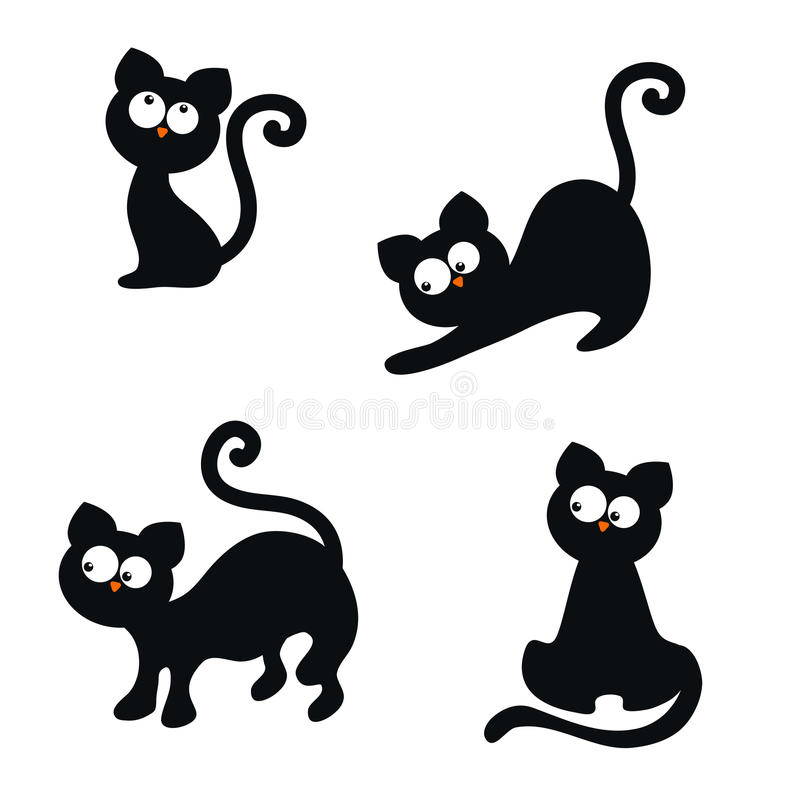 Set of cute cats. Vector set of cute cats on white background. Cats made in cartoon style vector illustration