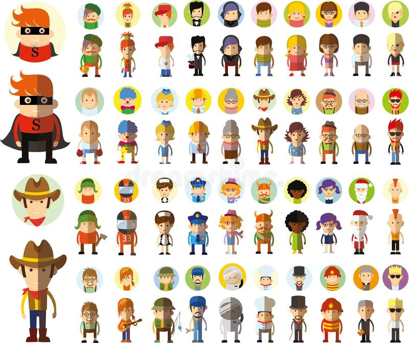 Set of cute character avatar icons,vector vector illustration