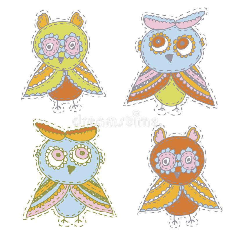 Set Cute characters Cartoon owls and owlets birds sketch doodle beige orange blue green red isolated on white background. Vector royalty free illustration