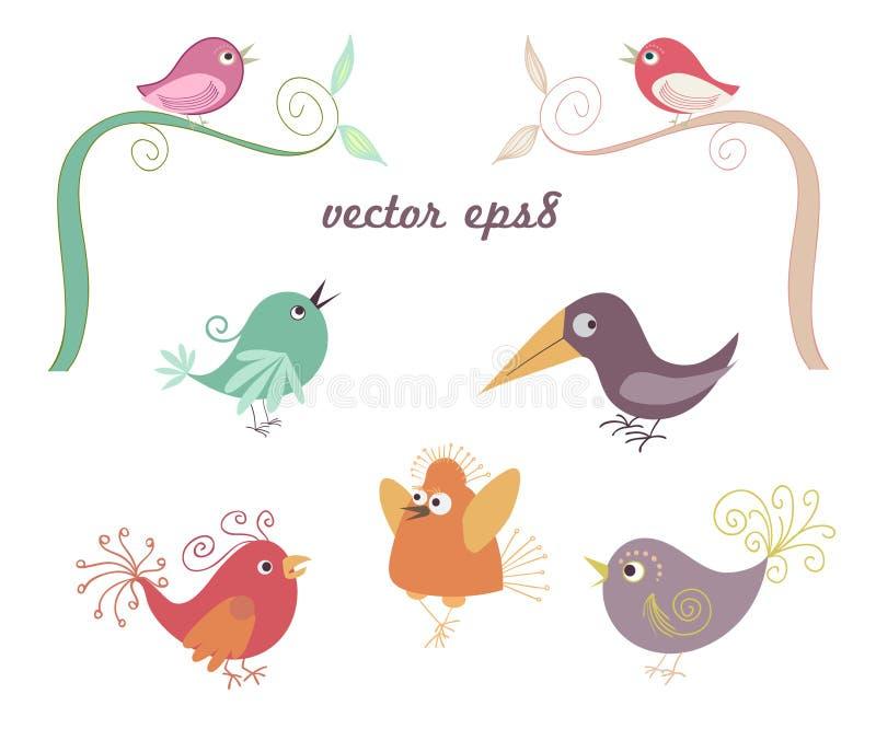 Set of cute childish birds vector illustration